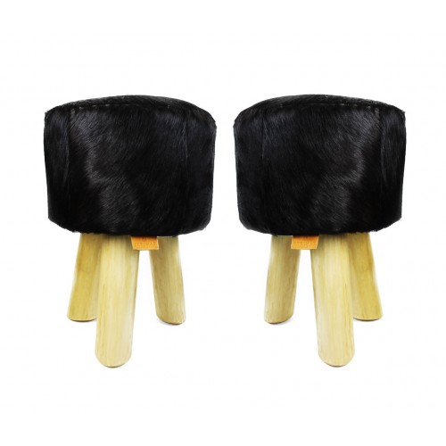 Pack of two Goat hide Wood Stools  - 11x11x17 in B Zerimar - 1
