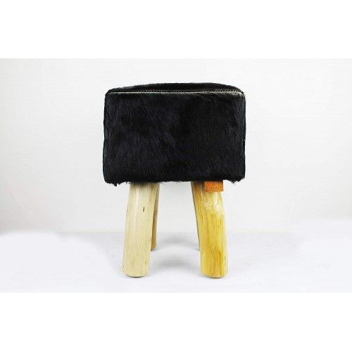 Pack of two Goat hide Wood Stools  15x15x17 in Zerimar - 2