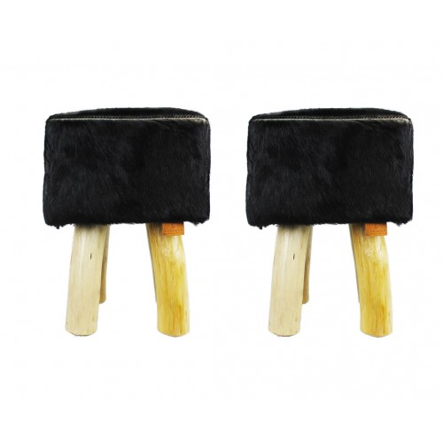 Pack of two Goat hide Wood Stools  15x15x17 in Zerimar - 1