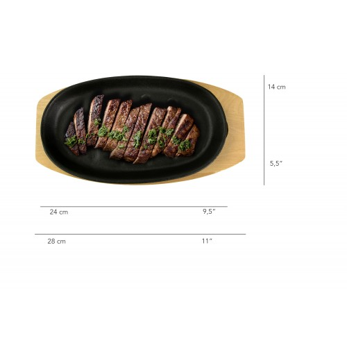 Oval Iron Frying Pan 24x14...