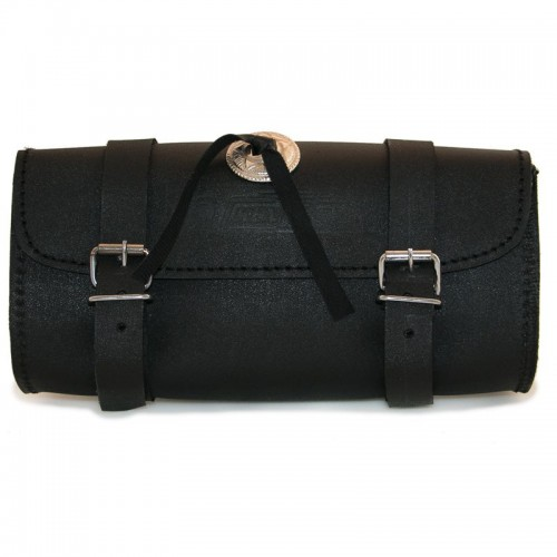 Rigid black leather tool bag