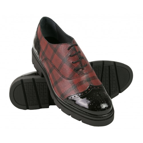 Black-red checked leather...