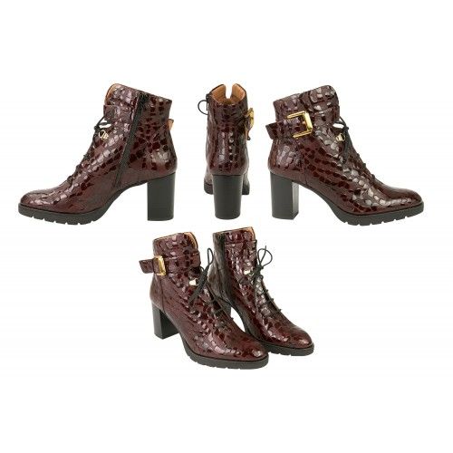 Ankle boots in coconut engraved leather with heel and golden buckle Zerimar - 2