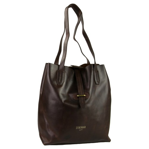 Leather shopping bag with...