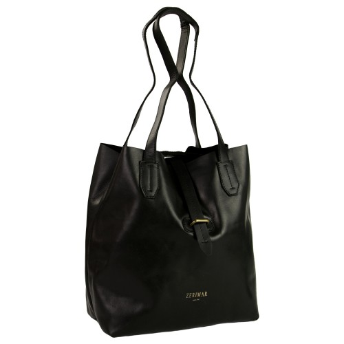 Leather shopping bag with cross closure Zerimar - 6