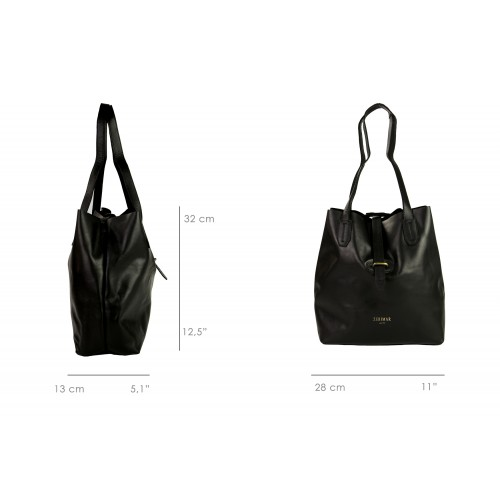 Leather shopping bag with cross closure Zerimar - 7