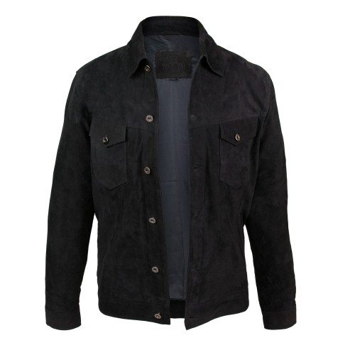 Suede denim jacket with...