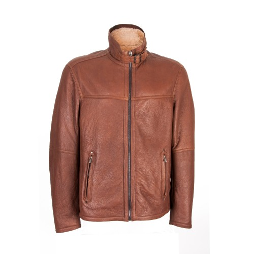 Double face leather jacket with zip and buckle closure Zerimar - 1