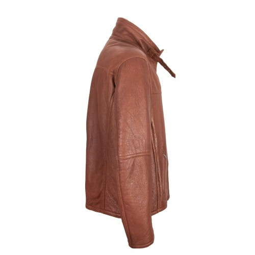 Double face leather jacket with zip and buckle closure Zerimar - 2