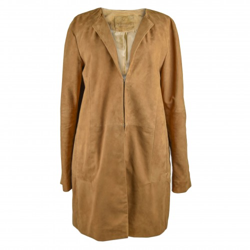 Long suede coat with pockets
