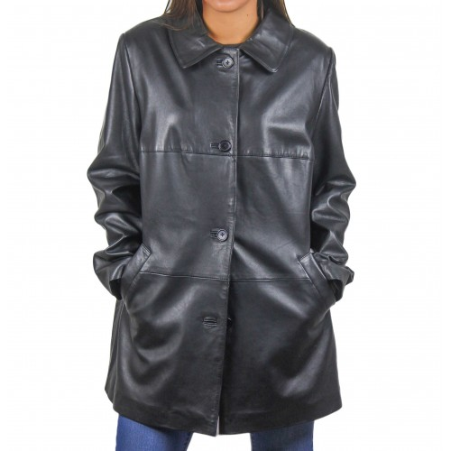 Black leather coat with...