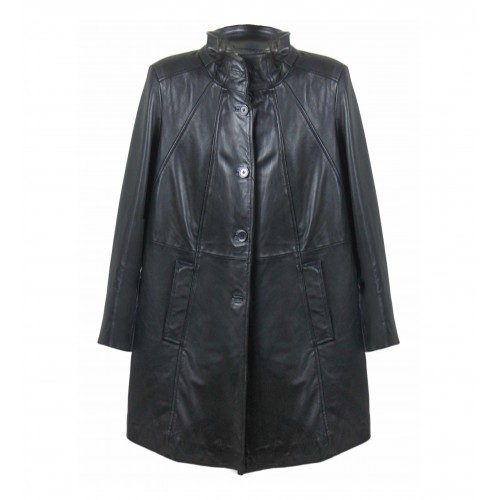 Black leather half-leg coat...