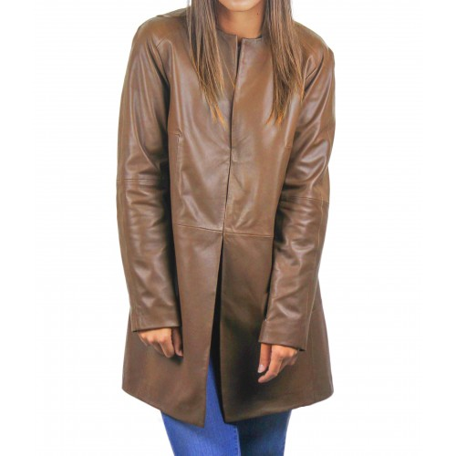 Long leather coat with...