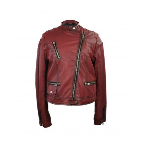 Red leather jacket with zippers and side closure Zerimar - 1