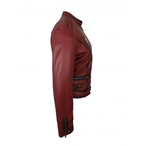 Red leather jacket with zippers and side closure Zerimar - 2