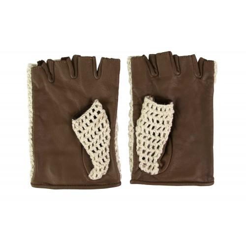 Crochet fingerless leather...