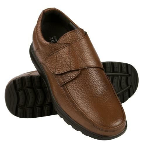 Leather shoes with velcro and interior risers that increase height by 7 cm Zerimar - 1