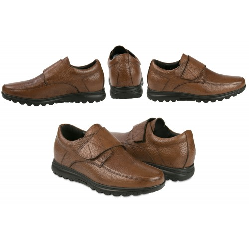 Leather shoes with velcro and interior risers that increase height by 7 cm Zerimar - 2