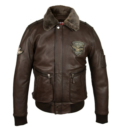 Leather jacket with aviator-style patches with detachable collar Zerimar - 2