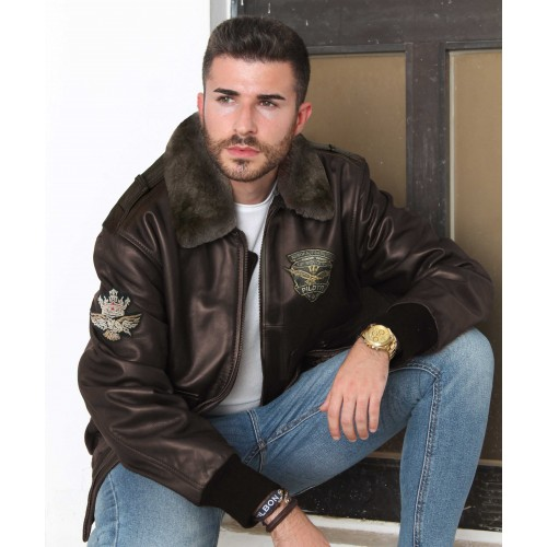 Leather jacket with aviator-style patches with detachable collar Zerimar - 1