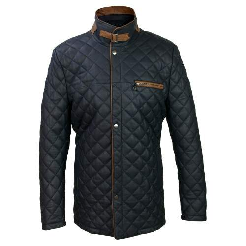 Padded leather jacket with double closure and buckle Zerimar - 1