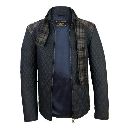 Padded leather jacket with checked scarf Zerimar - 2
