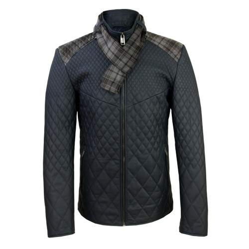 Padded leather jacket with checked scarf Zerimar - 1