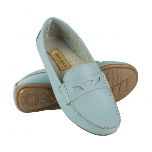 Leather loafers for women with decoration and seams Zerimar - 4
