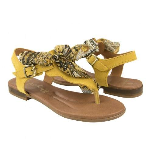 Flat leather sandals with bow model AGRA Zerimar - 1