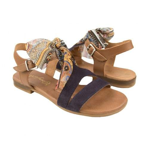 Flat leather sandals with bow and buckle model DELHI Zerimar - 1