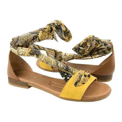 Flat leather sandals with bow model GOA Zerimar - 1
