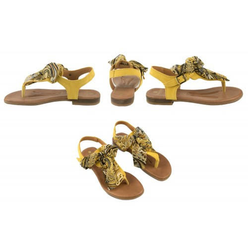 Flat leather sandals with bow model AGRA Zerimar - 2