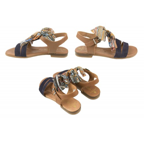 Flat leather sandals with bow and buckle model DELHI Zerimar - 2
