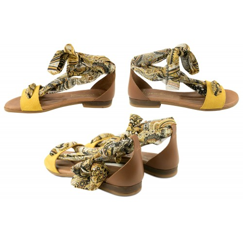 Flat leather sandals with bow model GOA Zerimar - 2