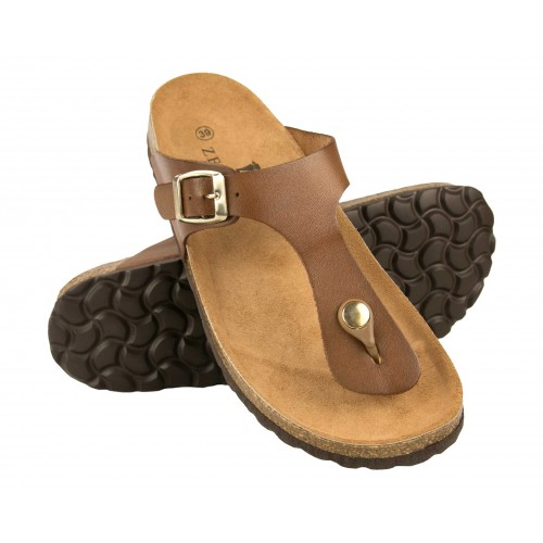 Leather flip flops with buckle and rippled insole Zerimar - 4