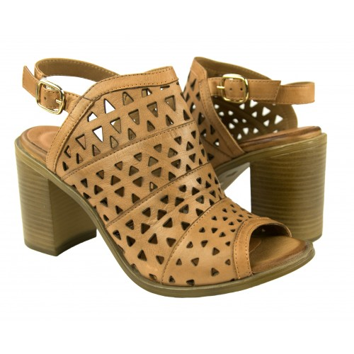 Ethnic leather sandals with heel and buckle closure Zerimar - 1