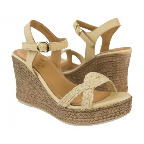 Leather wedge sandals CORALINE model Zerimar - 1