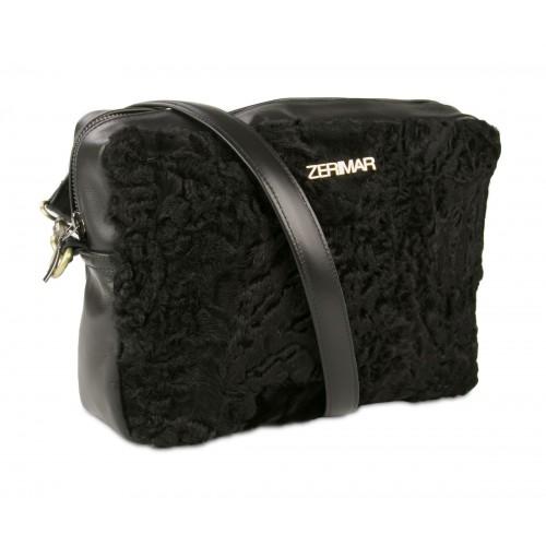 CRUELLA bag in nappa leather and astrakan 20x26x6.5 cm Zerimar - 1