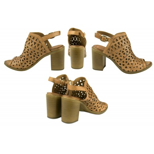 Ethnic leather sandals with...