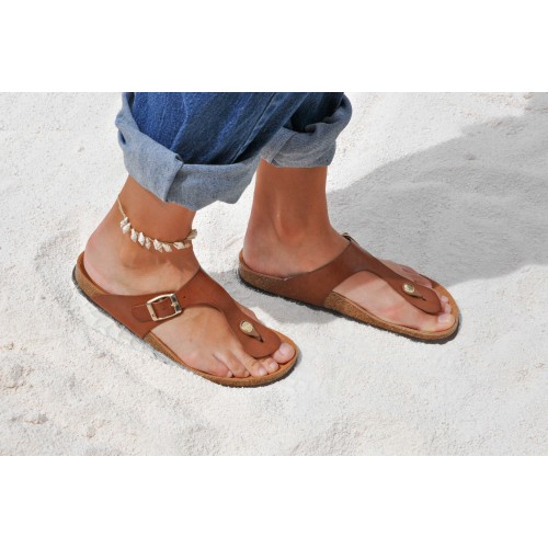 Leather flip flops with...