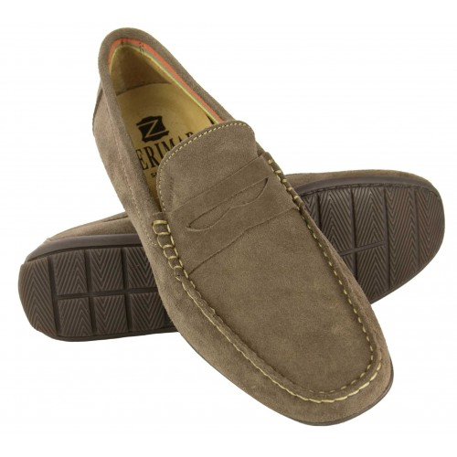 Natural suede loafers with...