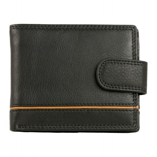 Black leather-combi wallet...