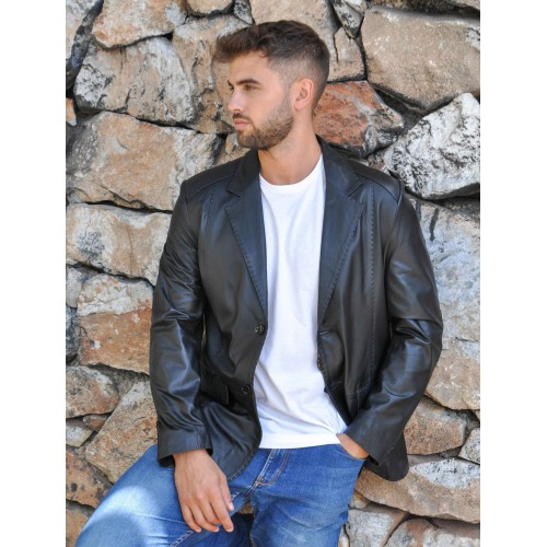 Leather blazer with elegant...